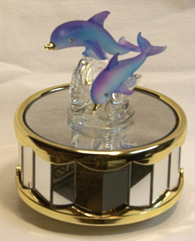 """BLUE GLASS DOLPHINS ON MIRROWED BASE CAROUSEL  PLAYS BEAUTY & THE BEAST 4"""" X 4"""" X 4 1/4""""  HAND CRAFTED & HAND PAINTED"""