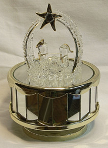 """GLASS BETHLEHEM SCENE CAROUSEL PLAYS SILENT NIGHT  4"""" X 4"""" X 6"""" HAND CRAFTED & HAND PAINTED  BATTERY OPERATED REQUIRED 2AA BATERIES (NOT INCLUDED)"""