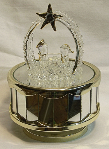 "GLASS BETHLEHEM SCENE CAROUSEL PLAYS SILENT NIGHT  4"" X 4"" X 6"" HAND CRAFTED & HAND PAINTED  BATTERY OPERATED REQUIRED 2AA BATERIES (NOT INCLUDED)"