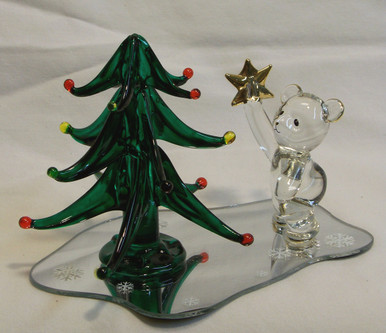 """GLASS BEAR DECORATING GLASS CHRISTMAS TREE  22K GOLD TRIM 5"""" X 3 1/4"""" X 3 5/8"""" HAND CRAFTED & HAND PAINTED"""
