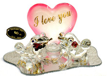 """GLASS FROGS WITH I LOVE YOU HEART & FLOWERS 22K GOLD TRIM 5"""" X 3 1/4"""" X 2 5/8""""  HAND CRAFTED & HAND PAINTED"""