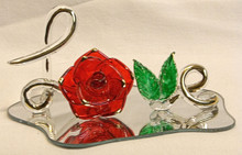 """GLASS SCRIPT """"LOVE"""" W/ROSE & LEAVES ON MIRROR 22K GOLD TRIM 5"""" X 3 1/4"""" X 2 1/4"""" HAND CRAFTED & HAND PAINTED"""