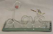 """GLASS SCRIPT """"LOVE"""" W/FLOWERS & HUMMING BIRD ON MIRROR 22K GOLD TRIM 4 1/4"""" X 2 1/8"""" X 2 1/4""""  HAND CRAFTED & HAND PAINTED"""