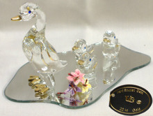 "GLASS DUCK WITH BABY DUCKS ON MIRROR 22K GOLD TRIM  5"" X 3 1/8"" X 2 3/4"" HAND CRAFTED & HAND PAINTED"