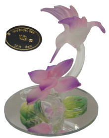 """GLASS PINK HUMMING BIRD OVER FLOWER ON MIRROR  2 1/2"""" X 2 1/2"""" X 3"""" HAND CRAFTED & HAND PAINTED"""