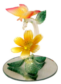 """GLASS ORANGE BUTTERFLY & FLOWER ON MIRROR  2 1/2"""" X 2 1/2"""" X 3 1/8"""" HAND CRAFTED & HAND PAINTED"""
