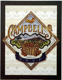 Photo of CAMPBELL'S SOUP BASKET SIGN FROM THEIR CAMDEN, N.J. PLANT  GREAT GRAPHICS AND COLOR