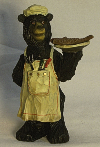 """BEAR CHEF WITH ROASTED FISH ON A DISH 3"""" X 3"""" X 4 7/8"""""""