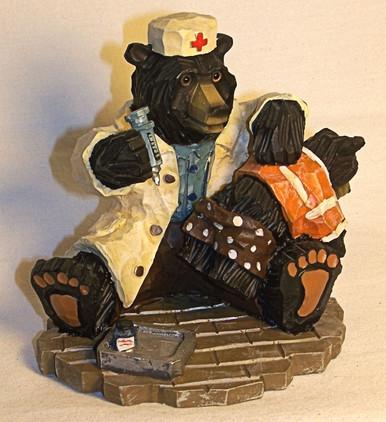 "DOCTOR OR NURSE BEAR GIVING CUB A SHOT 5 1/4"" X 3 3/8"" X 4"""