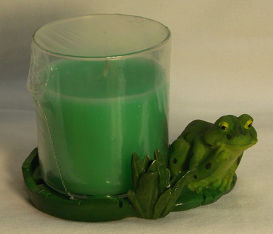 "FROG WITH CANDLE (IN GLASS HOLDER) ONLY ONE LEFT 4 3/8"" X 3 1/2"" X 3 3/8"""