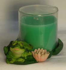 "FROG & FLOWER WITH CANDLE (IN GLASS HOLDER)  ONLY TWO LEFT     4 5/8"" X 3 7/8"" X 3 1/8"""