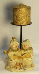 """FROSTED SNOW COUPLE SINGING CHRISTMAS CAROLS W/ CANDLE HOLDER AND CANDLE (3) ONLY THREE LEFT   4 1/4"""" X 3 1/2"""" X 9"""""""