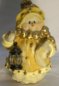 """FROSTED SNOW PERSON WITH SCROLL & LANTERN 3 5/8"""" X 3 1/2"""" X 5 1/8"""" (3) ONLY THREE LEFT"""