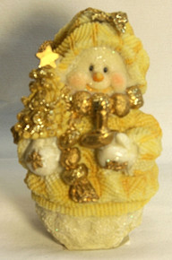 """FROSTED SNOWPERSON HOLDING CANDLE & TREE (3) ONLY THREE LEFT 3 1/4"""" X 3 1/4"""" X 5"""""""
