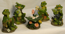 "FOUR FROGS PLAYING CARDS W/CARD TABLE   IN STRAIGHT ROW/12"" X 2 1/2"" X 3 1/2"""
