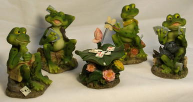 """FOUR FROGS PLAYING CARDS W/CARD TABLE IN STRAIGHT ROW/12"""" X 2 1/2"""" X 3 1/2"""""""