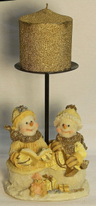 """FROSTED SNOW COUPLE W/BOOK, HORN & TOYS (2)  ONLY TWO LEFT    4"""" X 3"""" X 4 1/8"""""""