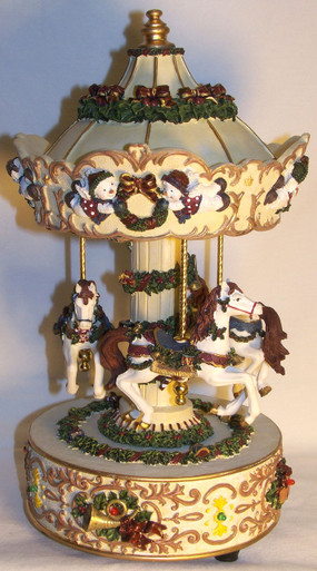 """3 HORSE LIGHTED MUSICAL CAROUSEL PLAYS JINGLE BELLS (2) ONLY TWO LEFT 5 1/2"""" X 5 1/2"""" X 10 3/8"""""""