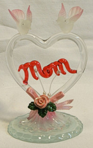 """GLASS HEART W/ MOM ACROSS HEART W/DOVES & FLOWERS  2 5/8"""" X 2 1/2"""" X 3 7/8"""" HAND CRAFTED & HAND PAINTED"""