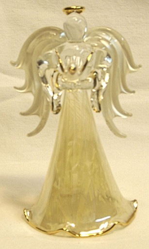 """ANGEL WITH DOVES & 22K GOLD TRIM 2 3/4"""" X 2 3/8"""" X 4 1/2""""  HAND CRAFTED & HAND PAINTED"""