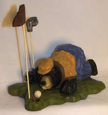 """BEAR GOLFER """"ENCOURAGING THE BALL TO DROP""""  MEASURES 6 1/2"""" X 4 1/2"""" X 5 3/4"""" RESIN WOOD CARVED LOOK"""