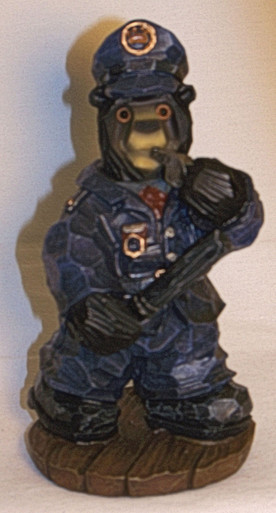 """BEAR POLICE OFFICER BLOWING WHISTLE  MEASURES 2 3/4"""" X 3"""" X 5 3/4"""" RESIN WOOD CARVED LOOK"""