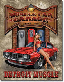 "MUSCLE CAR GARAGE TIN SIGN MEASURES 12 1/2"" W X 16"" H  WITH HOLES IN EACH CORNER FOR EASY MOUNTING"