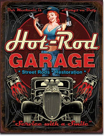 "HOT ROD GARAGE PISTONS VINTAGE TIN SIGN  MEASURES 12 1/2"" X 16""  WITH HOLES IN EACH CORNER FOR EASY MOUNTING"
