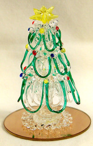 """GLASS HAND MADE ORNIMENTAL CHRISTMAS TREE ON MIRROR  ONLY TWO LEFT 2 1/2"""" X 2 1/2"""" X 3 1/2"""""""