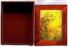 "ART DESIGNS BY JOSEPHINE WALL A POPULAR ENGLISH FANTASY ARTIST.			 THIS JEWELRY BOX CAN BE USED IN SEVERAL DIFFERENT WAYS. THE LID CAN BE USED PICTURE UP OR WORDS UP OR CAN BE HUNG ON THE WALL,USING THE EYELETS PROVIDED			 THE CASE ITSELF IS FELT LINED  AND WITH LID  MEASURES 8 5/8"" X 6 13/16"" X 3 1/2"""