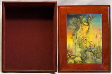 """UNDINE JEWELRY BOX WITH LID THAT CAN BE DISPLAYED ON WALL  ART DESIGNS BY JOSEPHINE WALL A POPULAR ENGLISH FANTASY ARTIST. THIS JEWELRY BOX CAN BE USED IN SEVERAL DIFFERENT WAYS. THE LID CAN BE USED PICTURE UP OR WORDS UP OR CAN BE HUNG ON THE WALL,  USING THE EYELETS PROVIDED THE CASE ITSELF IS FELT LINED  AND WITH LID  MEASURES 8 5/8"""" X 6 13/16"""" X 3 1/2"""""""