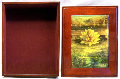 """HORIZONS  JEWELRY BOX WITH LID THAT CAN BE DISPLAYED ON WALL  ART DESIGNS BY JOSEPHINE WALL A POPULAR ENGLISH FANTASY ARTIST. THIS JEWELRY BOX CAN BE USED IN SEVERAL DIFFERENT WAYS. THE LID CAN BE USED PICTURE UP OR WORDS UP OR CAN BE HUNG ON THE WALL,  USING THE EYELETS PROVIDED THE CASE ITSELF IS FELT LINED  AND WITH LID  MEASURES 8 5/8"""" X 6 13/16"""" X 3 1/2"""""""
