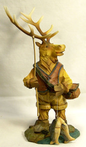 "ELK FISHING FIGURINE 5"" X 5 1/4"" X 9 3/8"""