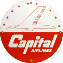 Photo of CAPITAL AIRLINES PORCELAIN SIGN, GREAT COLOR AND DETAILS