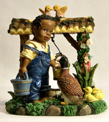 """AFRICAN AMERICAN LAD GETTING WATER FROM WELL & GIVING THE DUCK A DRINK MEASURES 3 5/8"""" X 3"""" X 3 7/8"""""""