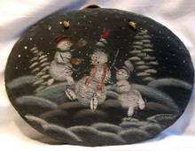 """OVAL SLATE WITH LEATHER STRIP FOR HANGING SNOWBALL FIGHT MEASURES 12 5/8"""" X 1/4"""" X 9 1/2"""" AND WEIGHS ABOUT 24 OZ PLEASE BE CAREFUL, THIS IS NATURAL SLATE, IT HAS SOME WEIGHT AND THE EDGES MAY BE VERY SHARP."""