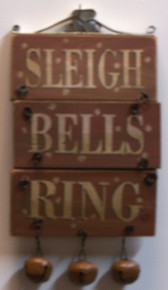 "SMALL SLEIGH BELLS RING WOOD AND METAL DECORATION MEASURES  3 5/8"" X 3/8"" X 7 1/4"""