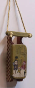 """SMALL WOODEN SLED DECORATION """"LET IT SNOW""""  MEASURES 3 1/2"""" X 7/8"""" X 8 3/8"""""""