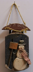 """SMALL WOODEN SLED WITH SNOWMAN WOOD DECORATIONMEASURES 3 1/4"""" X 1 3/8"""" X 2 1/2"""""""