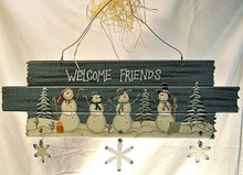 """WELCOME FRIENDS WOODEN SIGN WITH ROUGH ENDS WOOD, METAL & WIRE MEASURES 18"""" X 3/8"""" X 7"""""""