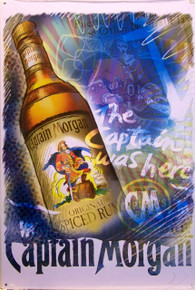 CAPTAIN MORGAN WAS HERE RUM SIGN, MAGNIFICENT COLORS AND DETAIL MAKE THIS A MUST HAVE FOR THE CAPTAIN MORGAIN FAN'S COLLECTION
