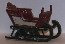 """SMALL ORNATE WOODEN BABY SLEIGH  MEASURES 5 3/8"""" X 2 7/8"""" X 3 3/8"""""""