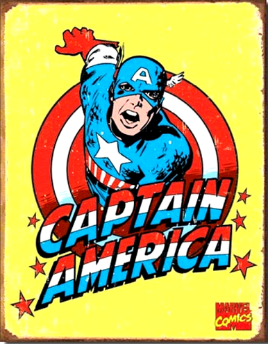 Photo of CAPTIAN AMERICAN RETRO SUPER HERO SIGN HAS BOLD COLORS AND GREAT DETAIL