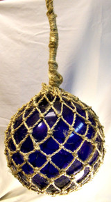 """LARGE DARK BLUE GLASS FLOAT  MEASURES 10 1/2"""" X 10 1/2"""" X 20 1/2"""" WITH ROPE"""