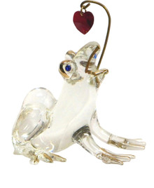 "GLASS FROG TRY TO CATCH RED HEART 22K GOLD TRIM MEASURES 2 1/4"" X 1 3/4"" X 2 3/8"" ONLY ONE LEFT"