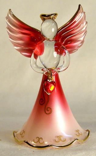 "BIRTHSTONE ANGELS JANUARY (GARNET) GLASS ANGEL HOLDING RED GLASS HEART 22K GOLD TRIM  MEASURES 2 3/16"" x 2 1/16"" x 3 3/4"""