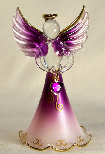 "BIRTHSTONE ANGELS FEBRUARY (AMETHYST) GLASS ANGEL HOLDING PURPLE GLASS HEART 22K GOLD TRIM  MEASURES 2 3/16"" x 2 1/16"" x 3 3/4"""