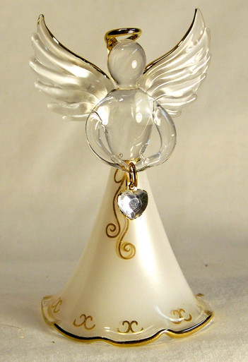 "BIRTHSTONE ANGELS APRIL (DIAMOND) GLASS ANGEL HOLDING CLEAR GLASS HEART 22K GOLD TRIM  MEASURES 2 3/16"" x 2 1/16"" x 3 3/4"""