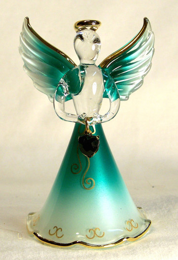 """BIRTHSTONE ANGELS MAY (EMERALD) GLASS ANGEL HOLDING GREEN GLASS HEART 22K GOLD TRIM  MEASURES 2 3/16"""" x 2 1/16"""" x 3 3/4"""""""
