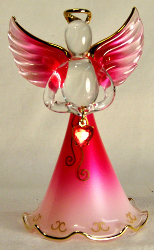 """BIRTHSTONE ANGELS JULY (RUBY) GLASS ANGEL HOLDING RED GLASS HEART 22K GOLD TRIM MEASURES 2 3/16"""" x 2 1/16"""" x 3 3/4"""""""